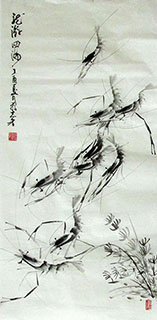 Chinese Shrimp Painting,50cm x 100cm,jzx21080013-x