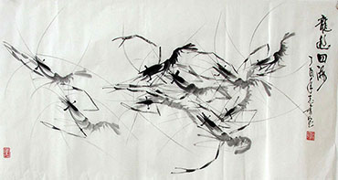 Chinese Shrimp Painting,50cm x 100cm,jzx21080014-x