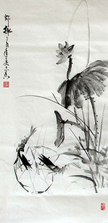 Chinese Shrimp Painting,50cm x 100cm,jzx21080015-x