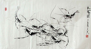 Chinese Shrimp Painting,50cm x 100cm,jzx21080018-x