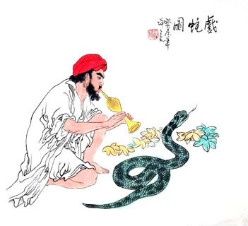 Chinese Snake Painting,50cm x 55cm,4503002-x