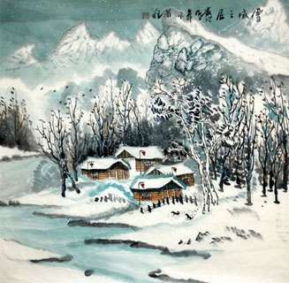 Chinese Snow Painting,69cm x 69cm,1043005-x
