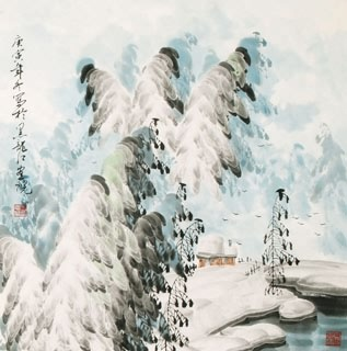 Chinese Snow Painting,66cm x 66cm,1056009-x