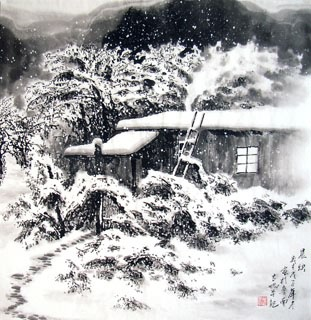 Chinese Snow Painting,66cm x 66cm,1165001-x
