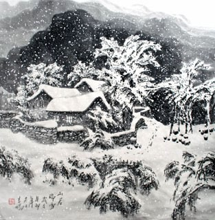 Chinese Snow Painting,66cm x 66cm,1165007-x