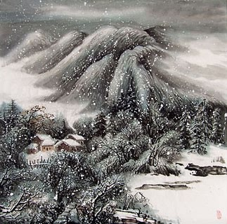 Chinese Snow Painting,69cm x 69cm,1166003-x