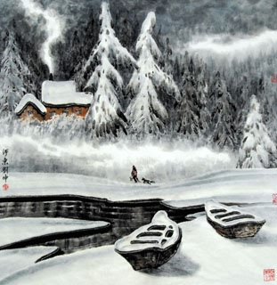 Chinese Snow Painting,69cm x 69cm,1167001-x
