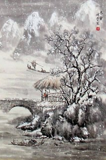 Chinese Snow Painting,69cm x 46cm,1168001-x