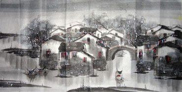 Chinese Snow Painting,69cm x 138cm,1168005-x