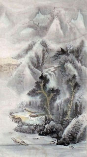 Chinese Snow Painting,44cm x 79cm,1452026-x