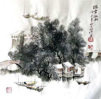 Chinese Snow Painting,50cm x 50cm,1516002-x