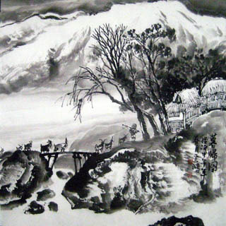 Chinese Snow Painting,69cm x 69cm,1579053-x