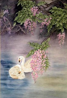 Chinese Swan Painting,66cm x 130cm,2319076-x