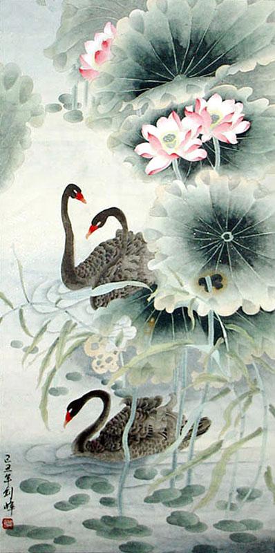 Chinese Swan Painting Swan 2336098 69cm X 138cm 27〃 X 54〃