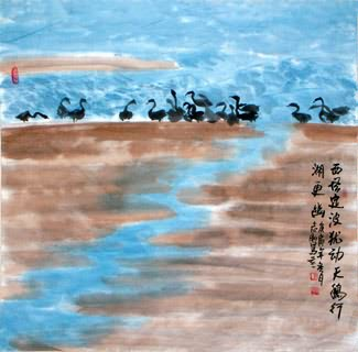 Chinese Swan Painting,69cm x 69cm,2360072-x