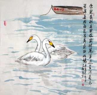Chinese Swan Painting,69cm x 69cm,2360074-x