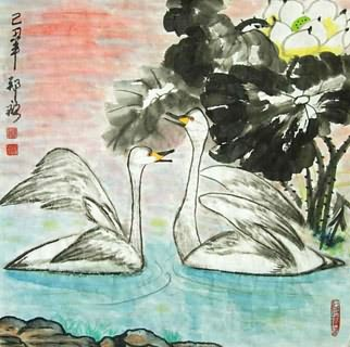 Chinese Swan Painting,50cm x 50cm,2517004-x