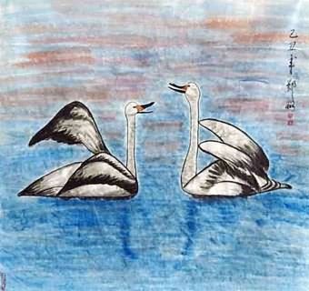 Chinese Swan Painting,90cm x 90cm,2517006-x