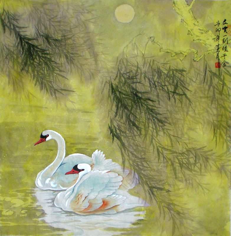 Chinese Swan Painting Swan 2695024 69cm X 69cm 27〃 X 27〃