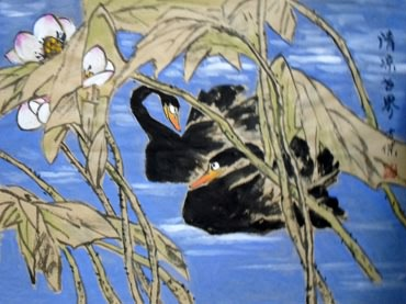 Chinese Swan Painting,63cm x 46cm,2745002-x