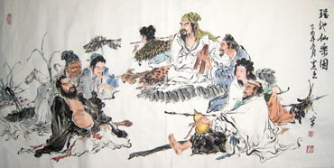 Chinese the Eight Immortals Painting,69cm x 138cm,3015003-x