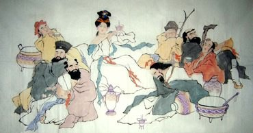 Chinese the Eight Immortals Painting,97cm x 180cm,3326001-x