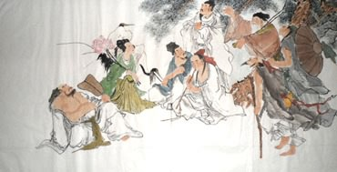 Chinese the Eight Immortals Painting,69cm x 138cm,3348015-x