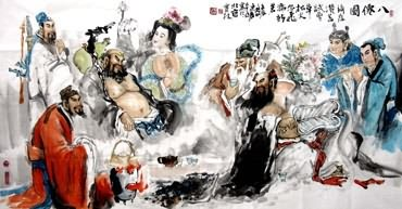 Chinese the Eight Immortals Painting,97cm x 180cm,3447001-x