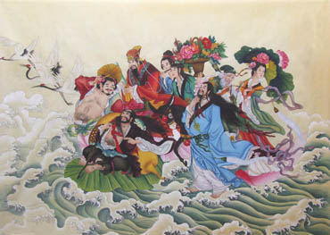 Chinese the Eight Immortals Painting,70cm x 100cm,3506017-x