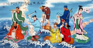 Chinese the Eight Immortals Painting,66cm x 136cm,3519028-x