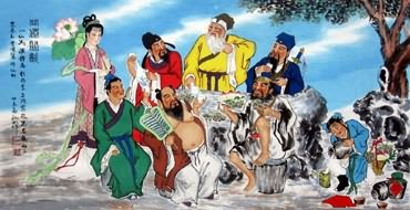 Chinese the Eight Immortals Painting,66cm x 136cm,3519029-x