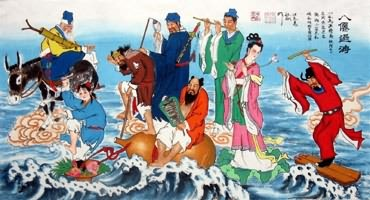 Chinese the Eight Immortals Painting,50cm x 100cm,3519030-x