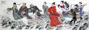 Chinese the Eight Immortals Painting,65cm x 175cm,3535011-x