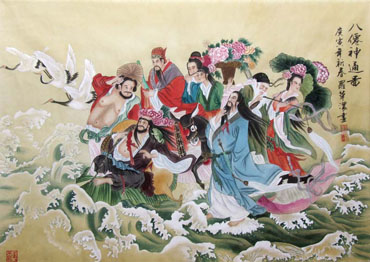 Chinese the Eight Immortals Painting,70cm x 100cm,3537016-x