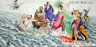 Chinese the Eight Immortals Painting,60cm x 120cm,3537033-x