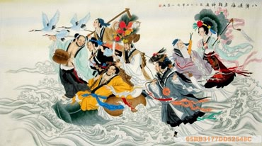 Chinese the Eight Immortals Painting,66cm x 120cm,3537034-x