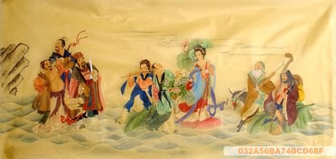 Chinese the Eight Immortals Painting,66cm x 136cm,3537036-x