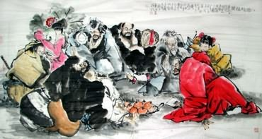 Chinese the Eight Immortals Painting,97cm x 180cm,3546024-x