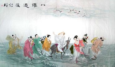 Chinese the Eight Immortals Painting,90cm x 170cm,3617001-x