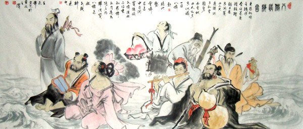the Eight Immortals,80cm x 180cm(31〃 x 71〃),3745003-z