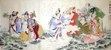 Chinese the Eight Immortals Painting,97cm x 180cm,3745004-x