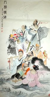 Chinese the Eight Immortals Painting,80cm x 150cm,3745005-x