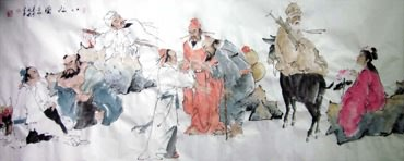 Chinese the Eight Immortals Painting,70cm x 180cm,3793001-x