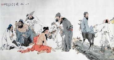 Chinese the Eight Immortals Painting,69cm x 138cm,3793002-x
