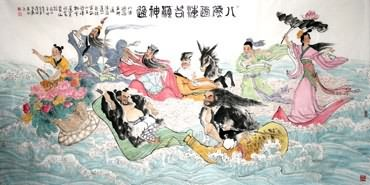 Chinese the Eight Immortals Painting,115cm x 240cm,3793004-x
