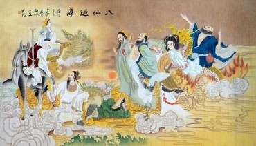 Chinese the Eight Immortals Painting,96cm x 160cm,3794001-x