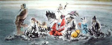 Chinese the Eight Immortals Painting,96cm x 240cm,3795001-x