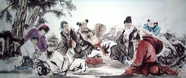 Chinese the Eight Immortals Painting,96cm x 240cm,3795002-x