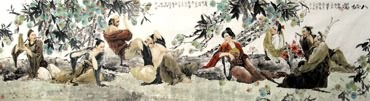 Chinese the Eight Immortals Painting,97cm x 358cm,3796001-x