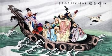 Chinese the Eight Immortals Painting,66cm x 136cm,3797003-x